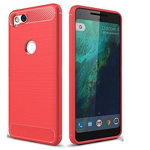 1aac94e49e63 CruzerLite Pixel 2 Case, Google Pixel2 Case, Carbon Fiber Shock Absorption  Slim case for Google Pixel 2 (2017) (Red)