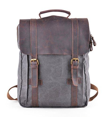 Gootium Canvas Backpack Freizeit- und Trekkingrucksack, für Laptops mit 15,6Zoll, Leinen und Leder, Damen/Herren, 43cm, 15l, grau