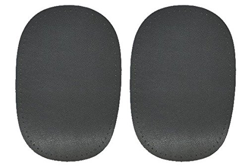 alles-meine.de GmbH 2 tlg. Set ovaler Flicken - mittel grau Leder 10 cm * 15 cm Aufnäher zum...