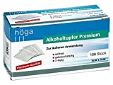 Höga-Pharm Alkoholtupfer Premium, zur äußeren Anwendung, reißfest, gebrauchsfertig, 2 lagig, 1er Pack (1 x 100 Stück)