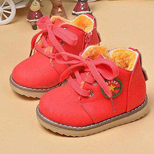 WOCACHI Mode Winter niedlichen jungen Mädchen Kind Armee Stil Martin Stiefel warme Schuhe Krabbelschuhe (21, Yellow) Watermelon Red