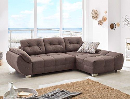 Wohnlandschaft Ruben 288x184 cm Microfaser braun Schlafsofa Eckcouch Couch Sofa Polsterecke Bettkasten Wohnzimmer