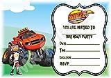 BLAZE e il mostro macchine inviti festa di compleanno–Landscape Frame design–Decorazione per feste/accessori (confezione da 12inviti A5) WITH Envelopes