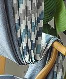 TYP Mall Blu Tenda Oscurante Poliestere Motivo Geometrico Moderno Isolamento Antivento per Finestre dal Pavimento al Soffitto/Porte Scorrevoli in Vetro (1 Pezzo),250x270cm