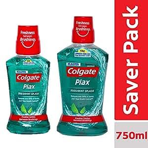 Colgate Plax Freshmint Splash Mouthwash – 250 ml with Colgate Plax Freshmint Splash Mouthwash – 500 ml