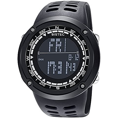 BISTEC al aire libre unisex LED analógico digital multifunción deporte negro reloj resistente al agua caja de