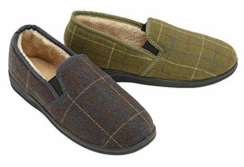 homme célébres Dunlop doublé chaud pantoufles Olive