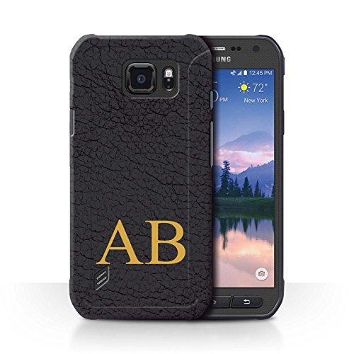 Personalisiert Individuell Leder-Effekt Hülle für Samsung Galaxy S6 Active/G890 / Olive Schwarzes Monogramm Design / Initiale/Name/Text Schutzhülle/Case/Etui