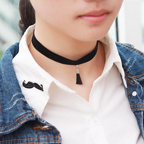 BAOZIV587 Schmuck einfache Schüler Schlüsselbein Kette Doppelkragen Zubehör kurze Halskette Hals Nackenband weibliche Pullover Kette, Silber Wildlederkragen