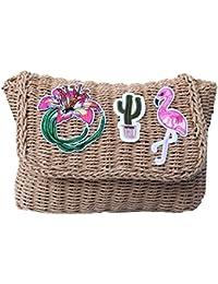 Bolso al hombro o cruzado mediano de rafia diseño flamenco cactus bordado verano 2018