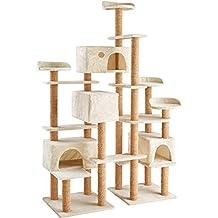 TecTake Árbol rascador para gatos 214 cm de altura | 4 plataformas de observación | 4 cómodas madrigueras | beige