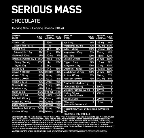 Optimum Nutrition Serious Mass Gainer Schokoladen, 5,45 Kg - 3