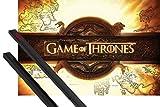 1art1 Poster + Hanger: Game of Thrones Poster (91x61 cm) Logo, Die Welten Von EIS Und Feuer Inklusive EIN Paar Posterleisten, Schwarz