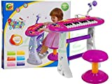 Keyboard mit Mikrofon und Hocker BB383B - Standkeyboard - Kinder Piano - Keyboard Spielzeug - Klavier - Kleinkind Musikinstrument - ROSA