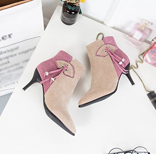 hiver taille sexy pour Couleur pointu latérale JAZS® Chaussures 2 Glissière et résistant lusure Confortable femmes à femme talon courtes Pointu Bottes doux 2 Bottes Automne 39 wAEAp