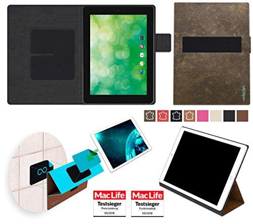 reboon Hülle für Blaupunkt Endeavour 1000 QC Tasche Cover Case Bumper | in Braun Wildleder | Testsieger