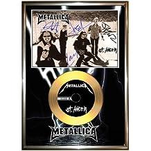 Golddiscdisplays - Foto y vinilo dorado enmarcados (firmados), diseño de St Anger de Metallica