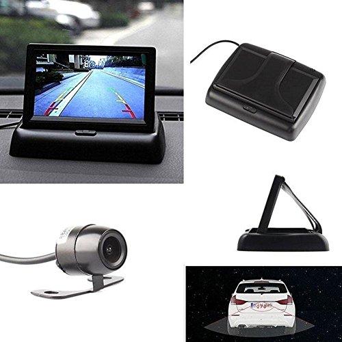 Hitcar Voiture V/éhicule Petite Mini Couleur Digital Flip Down Pliant Pliable Vue arri/ère invers/ée Parking Kits Combo HD TFT-LCD Moniteur Cam/éra de recul