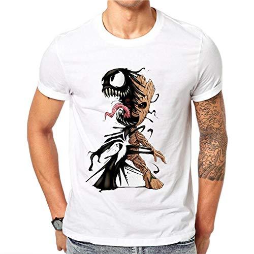 T-Shirts Groot E Venom Abbigliamento Herren Heiß! 2019 Mode frühjahr Sommer männer Druck t-Shirt Kurzarm t-Shirt Lässig Bequem (Color : White, Size : 3XL)