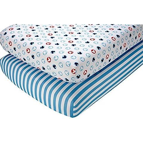 Disney Mickey Mouse Crib Sheet Set, 2 Count by Disney Baby - Mickey Crib Sheet
