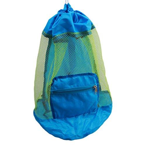 Tasche Tunnelzug Rucksack Schwimmen Spielzeug Tasche Mesh Netz Aufbewahrungstasche (blau) (Strand-spielzeug Tasche)