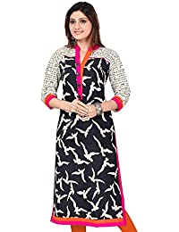 Black Cotton Long Pakistani Printed Cotton Kurtis(Size : 34)