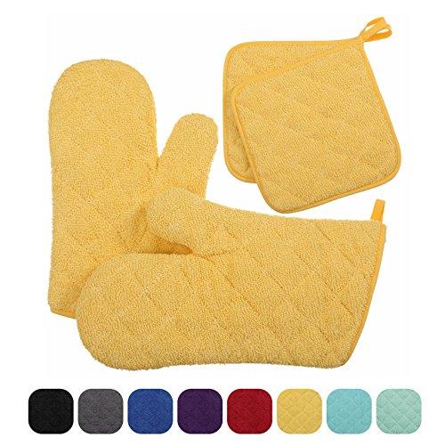 veeyoo Baumwolle Ofenhandschuhe Topflappen Set Gesteppt Untersetzer Matten Küche hitzebeständig für Kochen Backen gelb