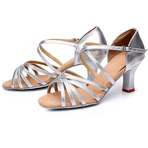 M&A Damen Latein Schuhe 5cm Absatz Silbern