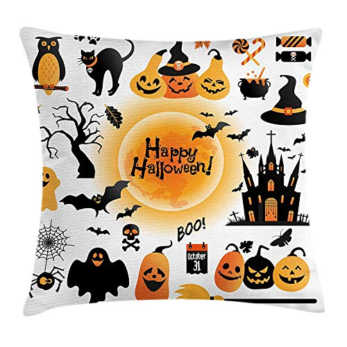 Halloween Throw Pillow Cushion Cover, All Hallows Day Objects Haunted House Owl and Trick or Treat Candy Black Cat, Decorative Square Accent Pillow Case, 26 X 26 inches, Orange Black