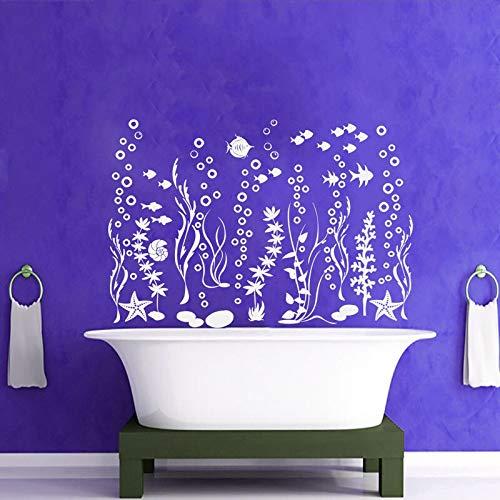 Große Größe Die Unterwasserwelt Fisch Algen Starfish Blasen Ozean Wandtattoos Vinyl Home Decor Badezimmer Waschraum Wandbilder 83X57CM