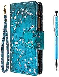 Grandoin Funda para Samsung Galaxy S20, Superficie Colorida PU Cuero Case Completo Cremallera Carcasa Protectora Cartera Soporte Plegable Función Fundas Case Cover (Flor De Ciruela)