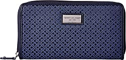 Tommy Hilfiger Womens Core Wallets Zip Around Mini Signature Black Tonal Wallets