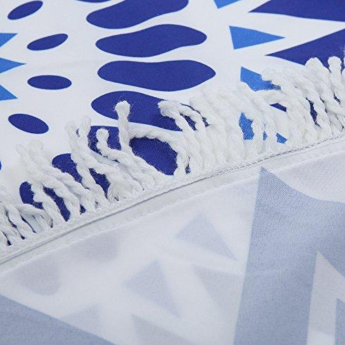 Smile YKK 150*150cm Gedruckt Runde Picknickdecke-Wandteppich-Mandala Strandtücher-Strandtuch Blau # B