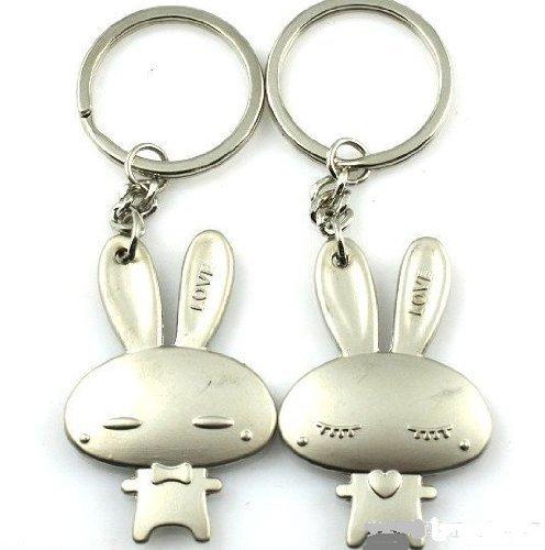 b683775522 Cookids Romantic Fashion Love Rabbit Alloy Couple Keychain Metal Boy Girl Love  Lovers Sweethearts Key Chain