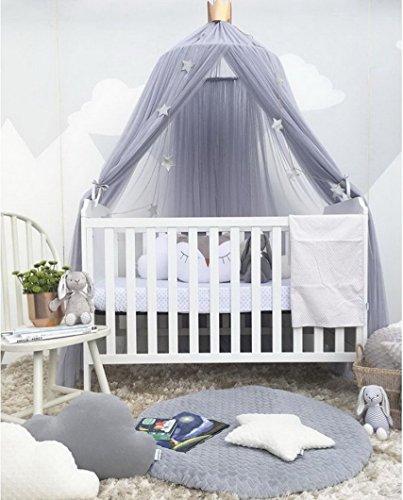 Betthimmel Baldachin Babybett, Restbuy Baldachin Kinderzimmer Betthimmel Moskitonetz Kinderbett Romantische Kuschel und Leseecke mit Himmelbett für ein Schlafzimmer (Hellgrau)