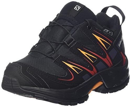 Salomon Kinder XA Pro 3D CSWP Trailrunning/Outdoor-Schuhe, Schwarz/Rot (Black/Black/Fiery Red), Gr. 28