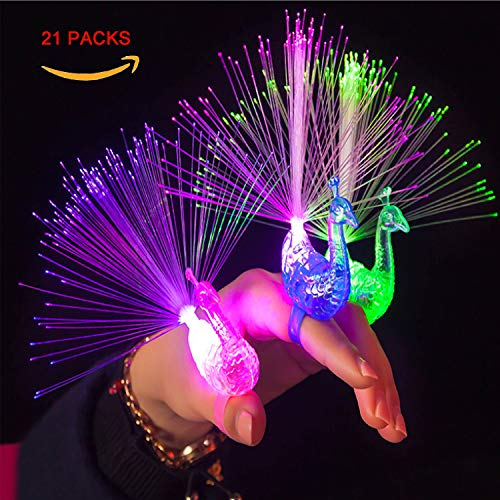 Finger Licht, 21 Stück Pfau Fingerlicht Fingerring Bunt Leuchten Finger Spielzeug Partyzubehör, Fingerlicht Fingerlampe for Geburtstag Party Musikfestival Täntze Karneval Kinder Konzert Requisiten