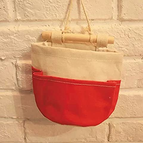 Yiliay Linen Cotton Hanging Organizer Sac de Rangement Suspendu-Rouge