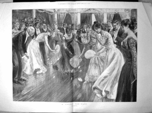 Damen-Fächer-Rennen-Sherie-Damen-Ballkleid-Fächer-Ball 1899