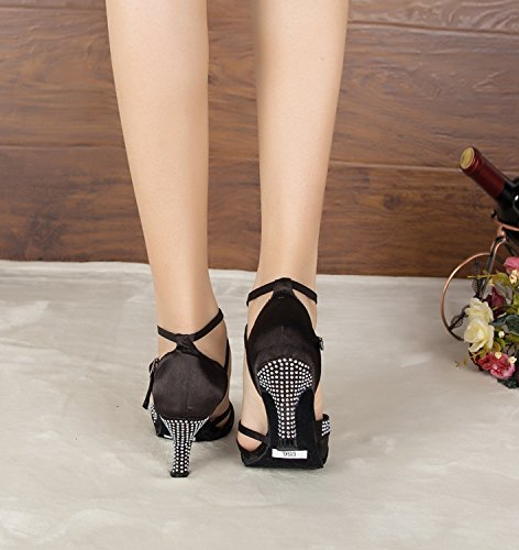 Minitoo – TH165 Custom Make Satin Matrimonio Ballo Latina taogo Dance Sandals Black