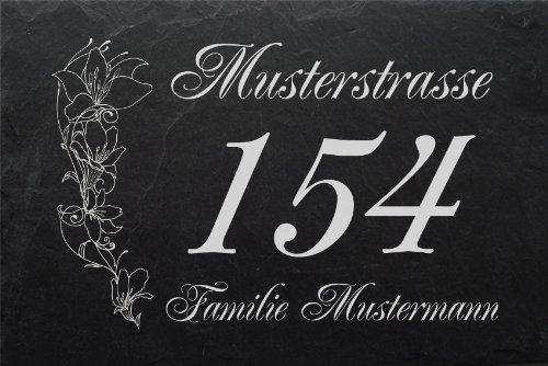 Schiefertafel mit wetterfester Lasergravur des Motives 'Hausnummer-005' und Ihrem Text/Daten in der gewünschten Schriftart von LaserArt24