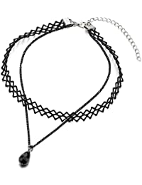 9b3d02d86c1f Dos Hileras Negro Encaje Cadena Tatuaje Collar de Gargantilla Choker Collar  Mujer