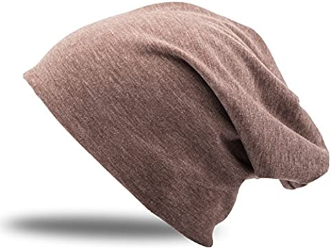 Jersey Cotton elastic Long Slouch Beanie Men & Ladies Unisex Hat Heather in 35 different colors (3) - Heather Brown, one size