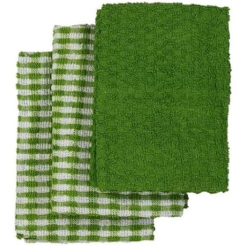 Paños de cocina de algodón - Verde / Blanco, ancho 45 x largo 65 cm