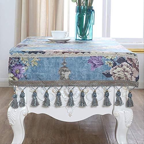 GMKR Mantel Calidad De La Moda Mantel De Té Mantel Mantel TV Tapa De Tela Engrosada Decoración del Hogar Escritorio Paño 60X200 Cm Azul