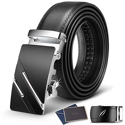 Wilbest Cinturón Cuero Hombre, Cinturón Para Hombres, Cinturón Cuero Hebilla Automática, Cinturones Piel con Hebilla Automática - Traje Para Ropa Formal/Jeans (120CM (Cintura: 39,37 '' - 43,31 ''))