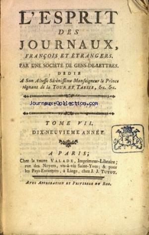 ESPRIT DES JOURNAUX (L') du 01/07/1790