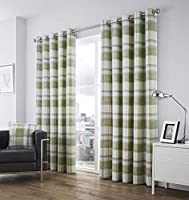 "Plaid Check Green Grey Cream Cotton 46"" X 54"" - 117cm X 137cm Ring Top Curtains by Fusion"