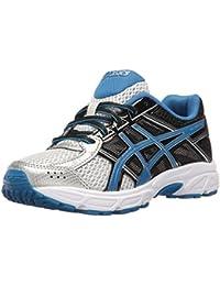 ASICS Boys' Gel-Contend 4 GS Running Shoe, Silver/Classic Blue/Black, 5 W US Big Kid