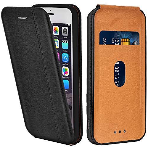 LEAUM Handyhülle Leder für iPhone 6 Hülle, Premium Handytasche Flip Schutzhülle für Apple iPhone 6 und iPhone 6S Tasche, Schwarz Premium Flip Case